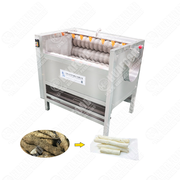Potato hair roller cleaning and peeling machine