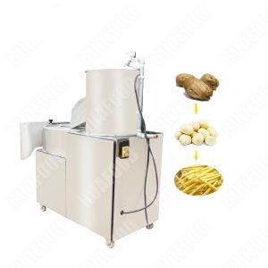 Auto potato washing peeling cutting machine